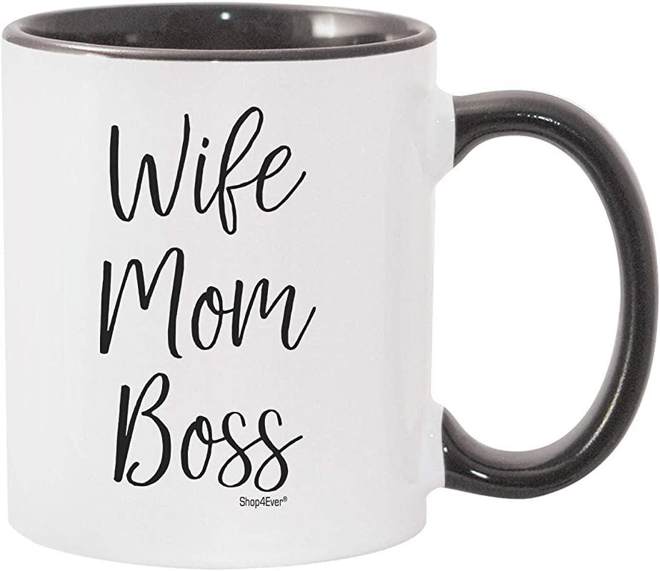 Shop4Ever Wife Mom Boss Novelty Ceramic Coffee Mug Tea Cup Gift For Boy Mom Black Handle