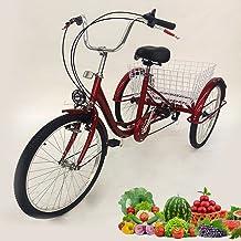 Driewieler voor volwassenen - 24 inch senioren driewieler 6 versnellingen voor volwassenen + mand + licht