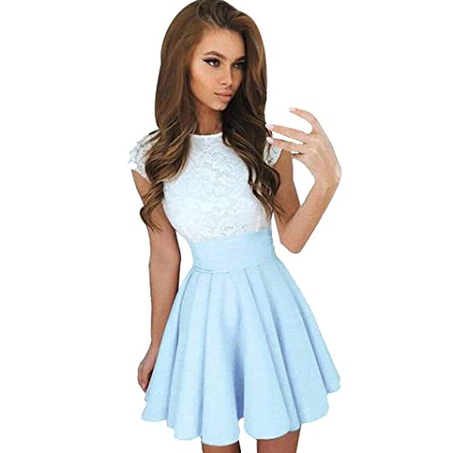 9ad28db50a70 Kangma Women Summer Lace Party Cocktail Ladies Mini Skater Skirt Short  Sleeve Dresses