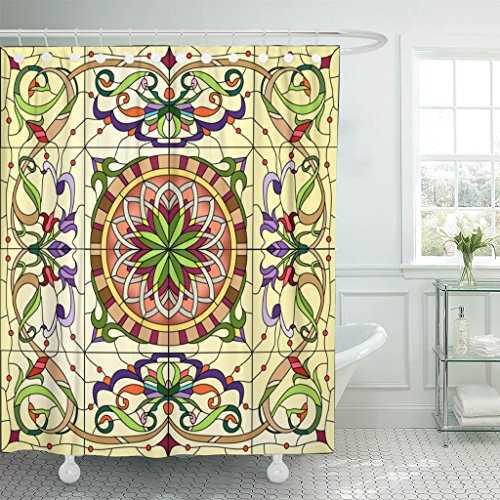Emvency Shower Curtain Mosaic Abstract Floral Stained Glass...