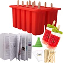 Homemade Popsicle Molds Shapes, Food Grade Silicone Frozen Ice Popsicle Maker BPA-Free, with 50 Popsicle Sticks 50 Popsicle Bags Silicone Funnel and Ice Pop Recipe Book