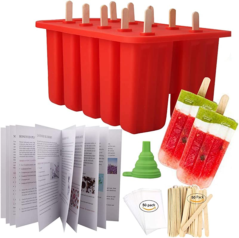 Homemade Popsicle Molds Shapes Food Grade Silicone Frozen Ice Popsicle Maker BPA Free With 50 Popsicle Sticks 50 Popsicle Bags Silicone Funnel And Ice Pop Recipe Book
