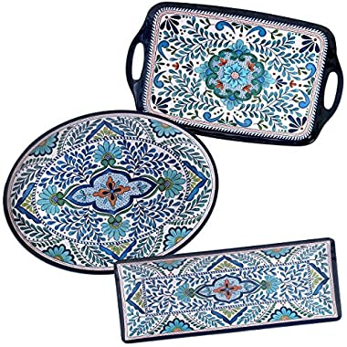 Certified International Talavera Melamine 3-piece Serving Set (Comes w/ 3 Different Shapes)