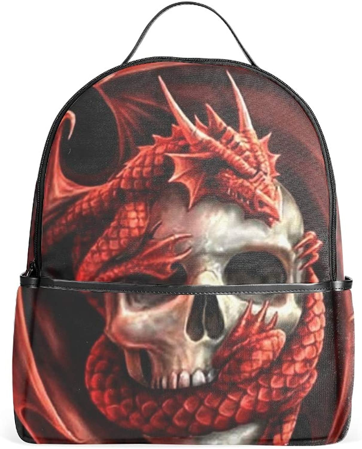 Dragons and Skulls Casual Backpack Bag, Fashion Lightweight Backpacks for Teen Young Girls