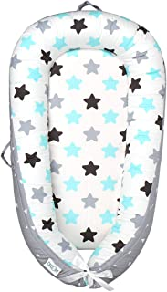 Baby Lounger and Baby Bassinet Baby Nest Sharing Co Sleeping - Soft Cotton Cosleeping Baby Bed Premium Quality and Bigger Size (0-18months) -Breathable & Hypoallergenic Portable Crib(Grey)