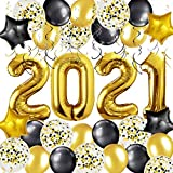 MOVINPE 2021 Graduation Decorations Party Supplies, Giant Gold 2021 Foil Balloons, Black Gold Silvery Hanging Swirls, Star Mylar Balloon Confetti Latex Balloons, for Class of 2021 Decor Kit