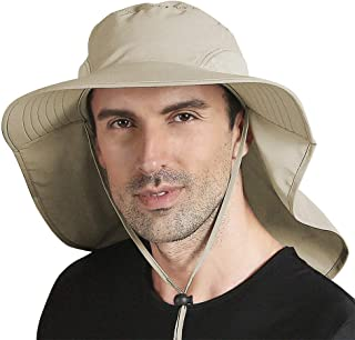 Peicees Outdoor Fishing Hat with Ear Neck Flap Cover Wide Brim UPF50+ Sun Protection Safari Cap for Men Women Hunting Hiki...