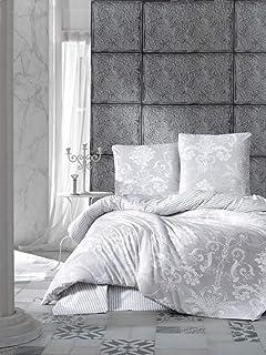 Bettwäsche 200x200 cm. Grau, 100% Baumwolle/Renforcé, 3 teilig set Wende Bettbezug aus Baumwolle mit Weiß Barock Muster, V...