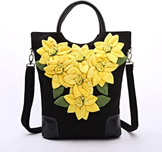 Arder Ethnic Characteristics, Creative Hand-appliqué, Cloth, Dyeing, Craft, Hand-held, Shoulder/Cross-Body Bag Relaxed (Color : Yellow)