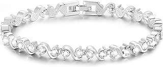 S Shape Sparkle Swarovski Element Cubic Zirconia Bracelet,18k Rose Gold Plated Bracelet,Tennis Bracelet [18cm/7inch] Christmas Mother's Day Valentines Gifts