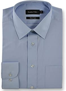 Double Two Plain Speedwell Blue Shirt With Extra Long Sleeves For Tall Men