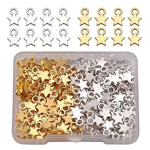 160 colgantes de estrella, para manualidades, bisutería, collares, pulseras, pendientes, decoración, accesorios, plata y oro