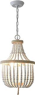 Perla de madera colgante vintage lámpara de techo luz antigua araña madera con 2 casquillos E14