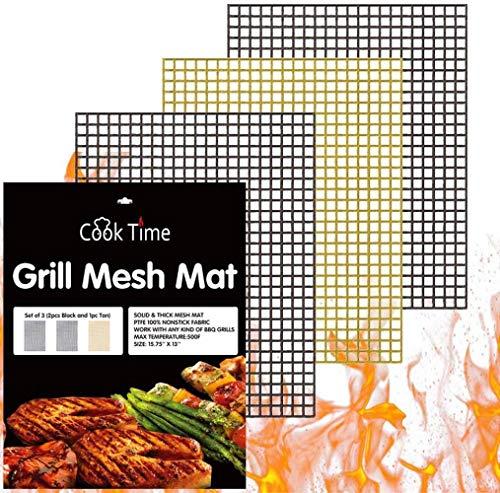 RSDA Antiadherente Parrilla de Barbacoa para cocinar Barbacoa Alfombra de la Estera Reutilizable Barbacoa Mesh para cocinar al Aire Libre Accesorios para Barbacoa,3pcs 40x30,China