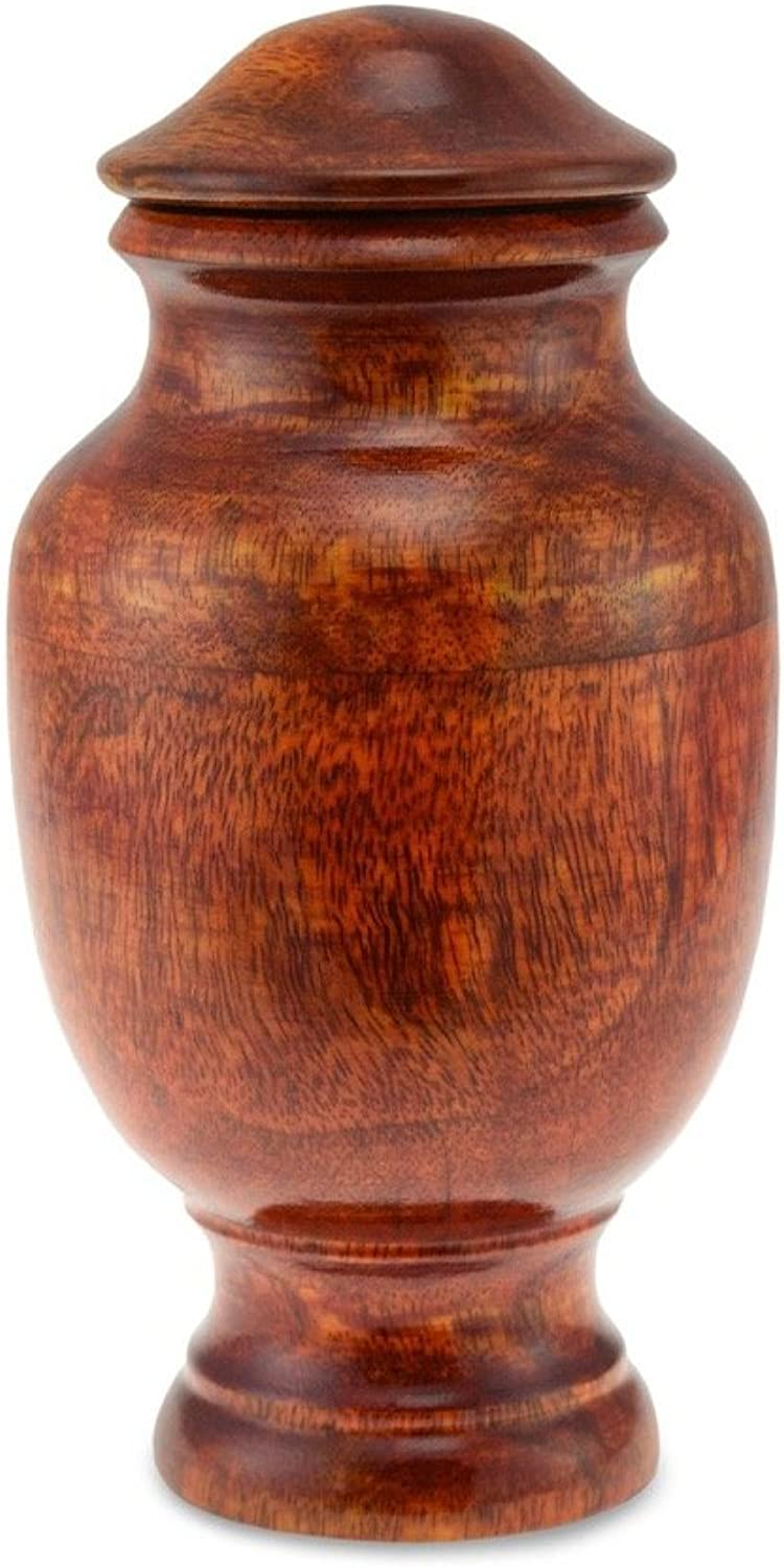 Cherished Urns Kenneggy Wooden Rounded With Carved Neck Pet Cremation Urn  Small. Capacity of 50 cubic inches.