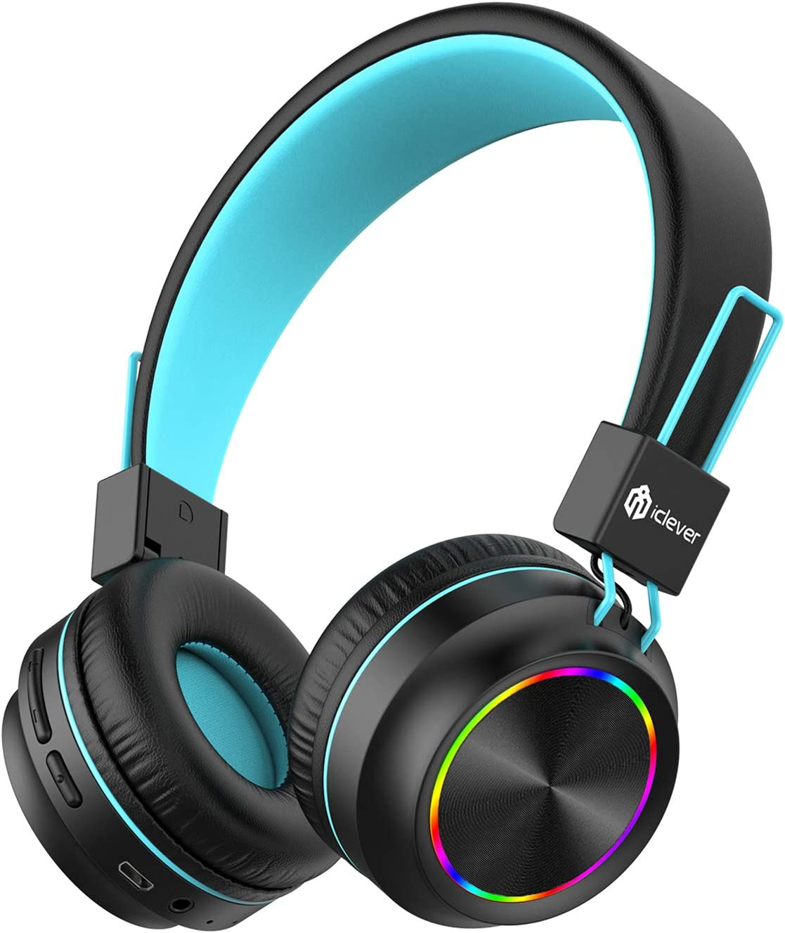 iClever BTH03 Kids Wireless Headphones, Colorful LED Lights Kids Headphones with MIC, 25H Playtime, Stereo Sound, Bluetooth 5.0, Foldable, Childrens Headphones on Ear for Study Tablet Airplane, Black
