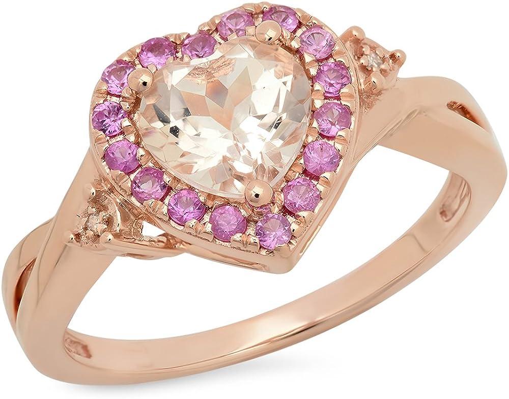 Dazzlingrock Collection 10K low-pricing Heart Elegant Pink Round Morganite Sapphir