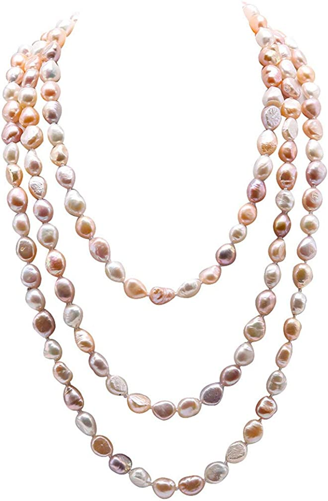 JYX Pearl Necklace Endless 8-9mm Multicolor Baroque Pearl Necklace Long Sweater Necklace 64