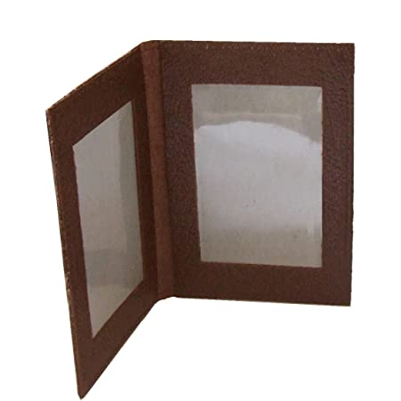 Leather Bus Pass Holder, Oyster Card, ID Cover, Licence, Photo ID Window (Double Brown)