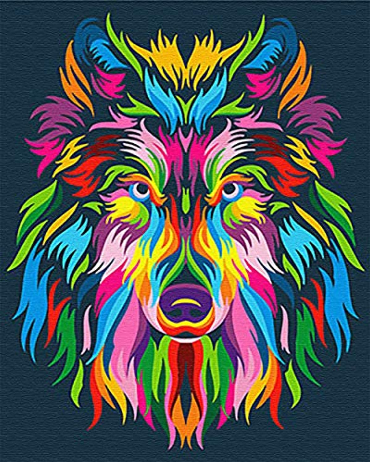 Komking DIY Oil Painting Paint by Numbers Kit for Adults Kids Beginner, Colorful Animals Painting on Canvas 16x20inch - Colorful Wolf of Tribe