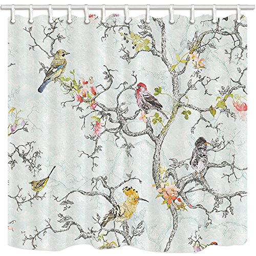 NYMB Asian Floral Style Shower Curtain, Spring All Kinds of Birds and Flower On Wooden Tree Branch, Farmhouse Bathroom Polyester Fabric Waterproof Shower Curtain Set with Hooks, 69X70in