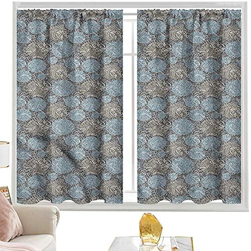 cortinas térmicas abstractas, patrón de círculo bicolor W52 x L72 pulgadas cutainsforlivingroom