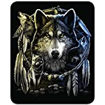 Regal Comfort Wolf Mandela Medium Weight Faux Fur Queen Size Wolf Blanket , Black