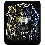 Regal Comfort Wolf Mandela Medium Weight Faux Fur Queen Size Wolf Blanket , Black