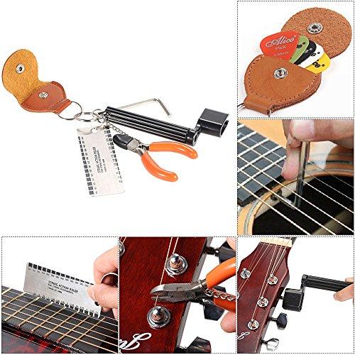 KKmoon Conjunto de ferramentas 5-em-1 para violão acessórios Kit conjunto de ferramentas Configuração do enrolador de cordas Pino da ponte Extrator + medidor de ação da corda Régua de medição Luthier