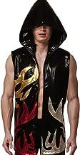 Adult Boxing Robes Hood Faux Leather Shiny Apparel Full Length Sleeveless Flames Hoodie Sport Vest Wrestling Ninja Cloak Cape (Black, S)