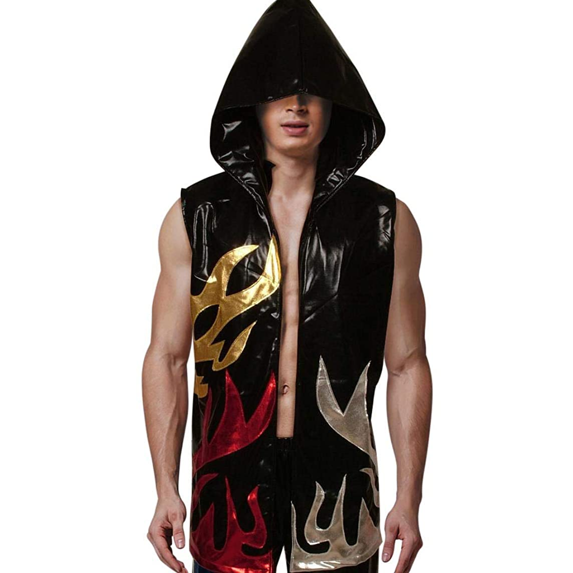 Kids Boxing Robes Hood Faux Leather Shiny Apparel Full Length Sleeveless Flames Hoodie Sport Vest Wrestling Ninja Cloak Cape