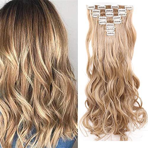 Extensiones de Clip de Pelo Natural 8 Piezas Extensiones de Cabello Rizadas Postizo Largo Full Head Clip in Hair Extension (Rubio ceniza)