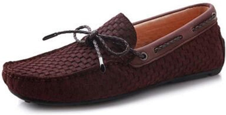 HAPPYSHOP Mens Height Increasing shoes Increased Within 3CM Hidden Heel Slip-on Loafers (Men 46 EU, Coffee)