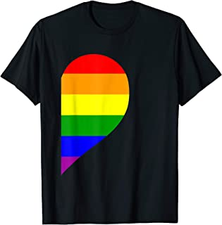 Rainbow Heart LGBT Matching Gay Couple Valentine's Day T-Shirt
