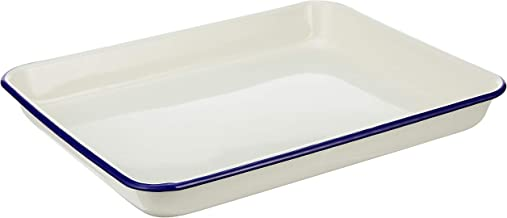 Wiltshire HW0935 Enamel Rectangular Blue Rim Baking Tray, 26.5 x 21 cm, 800 ml, Cream