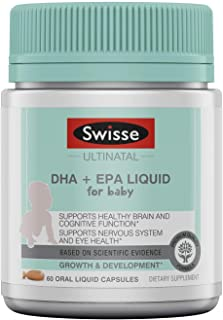 Swisse Premium Ultinatal DHA + EPA Liquid for Baby | Promotes Healthy Brain Function, Cognitive Health, Eye Health | Omega-3 Fish Oil | Mild Orange Flavor | 60 Oral Liquid Capsules per Bottle