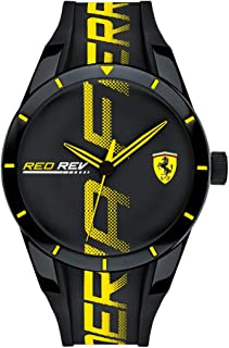 Ferrari Men's RedRev Quartz Plastic and Silicone Strap Casual Watch, Color: Black (Model: 830615)