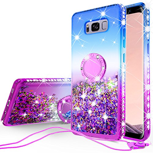 [GW USA] Glitter Phone Case Kickstand Compatible for Samsung Galaxy S8 Plus Case,Ring Stand Liquid Floating Quicksand Bling Sparkle Cute Protective Girls Women Phone Case (Gradient Purple)