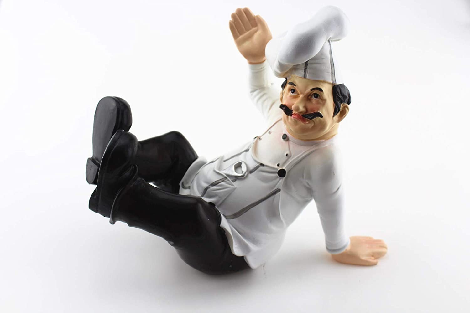 Wine Holder French Chef Waiter Decorative Display Stand Table Centerpiece Figurine for Country Cottage Decor As Collectible Housewarming Gifts (Wine Holder Sitting Chef)