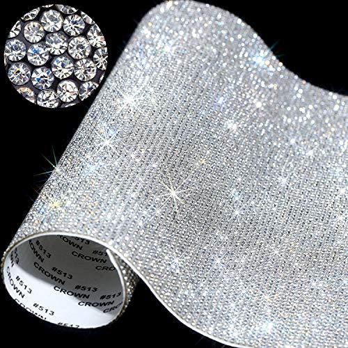 12000 Stücke Bling Bling Kristall Strass Aufkleber DIY Auto Dekoration Aufkleber Selbstklebende Glitzer Strass Kristall Edelstein Aufkleber für Geschenk Dekoration, 9,4 x 7,9 Zoll (Klar)