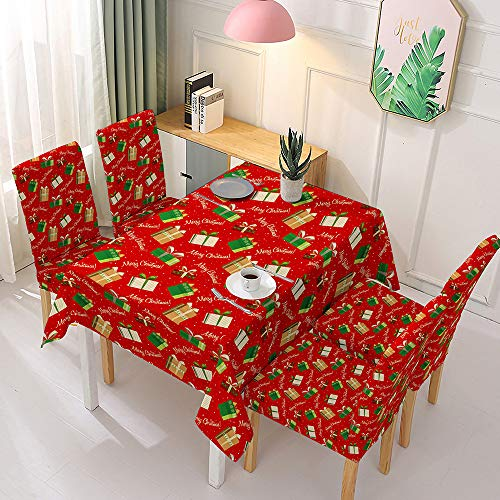 WILLBAN Christmas Tablecloth Spandex Chair Cover Dining Room Stretch Chair Covers Wedding Chair Slipcover Printed Pattern Hotel (Weihnachten-F,140x210cm)
