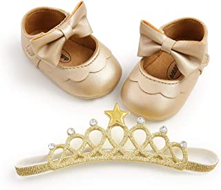 Baby Girls Mary Jane Flats with Bowknot Headband Infant Princess Dress Soft Sole Crib Shoes Non-Slip for Toddler First Wal...