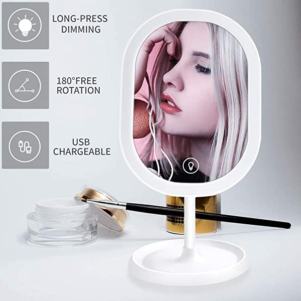 LED Makeup Mirror Rechargeable Portable Tabletop Vanity Mirror With Lights Adjustable Brightness Touch Screen Base Storage Box Design Ideal For Makeup Lover White