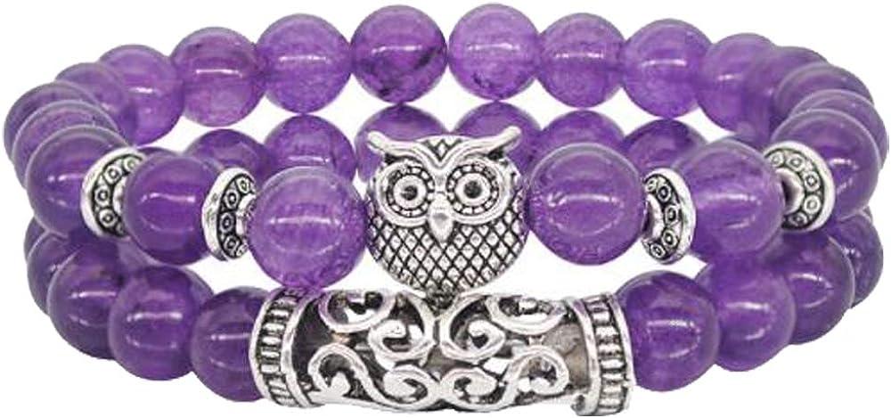 Longyangqk Hombres Mujeres Hecho A Mano 8mm Amatista Cuentas de Piedras Preciosas Naturales Pulsera Vintage Owl Charm Colgante de Perlas Pulseras El/ásticas Unisex