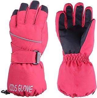 TRIWONDER Kids Winter Ski Snow Gloves Children Snowboard Gloves Cold Weather Waterproof for Boys Girls Toddler (Rose Red, S (4-6 years old))