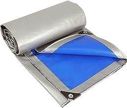 ZZYE Dekzeil Heavy Duty Tarpaulin Cover, Blue/Silver Multifunction Polyethyleen Plastic Tarps zonnezeil (Color : Blue/Silv...