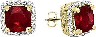 18K 7 MM Each Cushion Gemstone & Round Diamond Ladies Square Frame Halo Stud Earrings, Yellow Gold