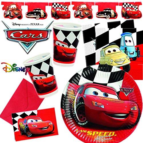 101-teiliges PARTY SET * CARS RED * für Kindergeburtstag mit 6-10 Kinder: Teller, Becher, Servietten, Einladungen, Wimpelkette, Ballons, Luftschlangen u.v.m. | Geburtstag Party Kinder Disney