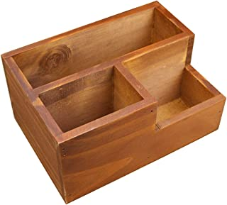 Coideal Wooden Desktop Storage Organizer/Remote Control Caddy Holder Wood Box Container for Desk, Office Supplies, Home, End Table (20 x 14 x 9.6 cm)