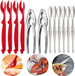 Seafood Tools Crackers Forks 12PCS, Nut Cracker Opener Shellfish Oysters Crab Lobster Leg Sheller Knife Kitchen Accessories